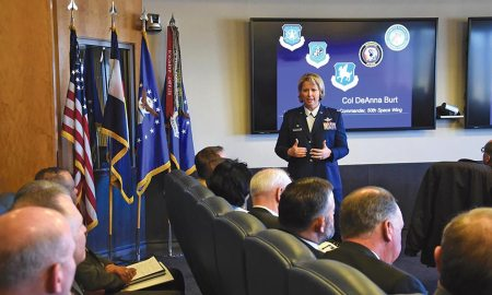 U.S. Air Force photo/Tech. Sgt. Sara Bishop Col. DeAnna Burt, 50th Space Wing commander, answers questions from local leaders about the future of the base during the bi-annual State of the Base event at Schriever Air Force Base, Colorado, Wednesday, March 1, 2017. The event helps base leaders and local decision-makers work together to bolster partnerships and improve relationships.