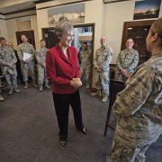 Secretary of the Air Force's first visit emphasizes space, cyber