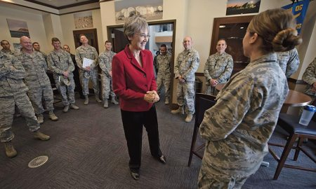 (U.S. Air Force photo by Airman 1st Class Dennis Hoffman) PETERSON AIR FORCE BASE, Colo. — Secretary of the Air Force Heather Wilson engages with Airmen at the 16th Space Control Squadron during her first base visit as SECAF to Peterson Air Force Base, Colo., May 22, 2017. Wilson spent time meeting Airmen assigned to Air Force Space Command's only defensive space control unit.