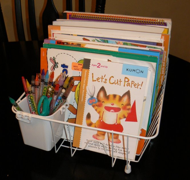 coloring book caddy organization