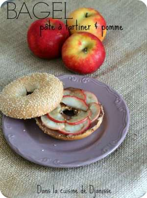 Bagel pomme et pâte à tartiner
