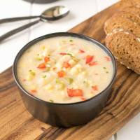 celery, chowder, comfortfood, corn, dairy, madewitha2milk, potato, redpepper, soup, summer