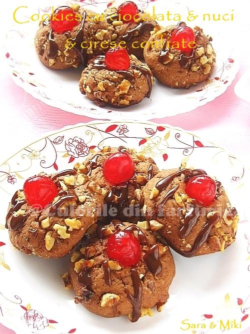 Cookies cu ciocolata & nuci & cirese confiate 3