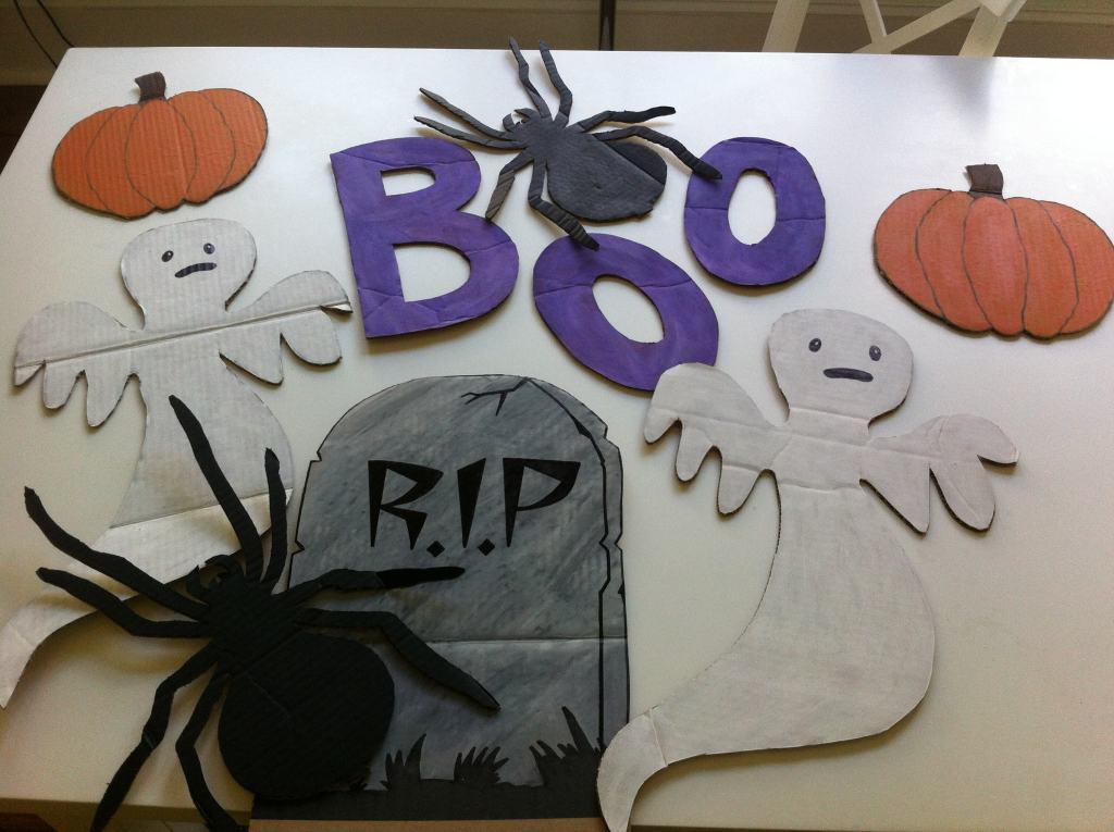 Painted Cardboard Halloween Decorations