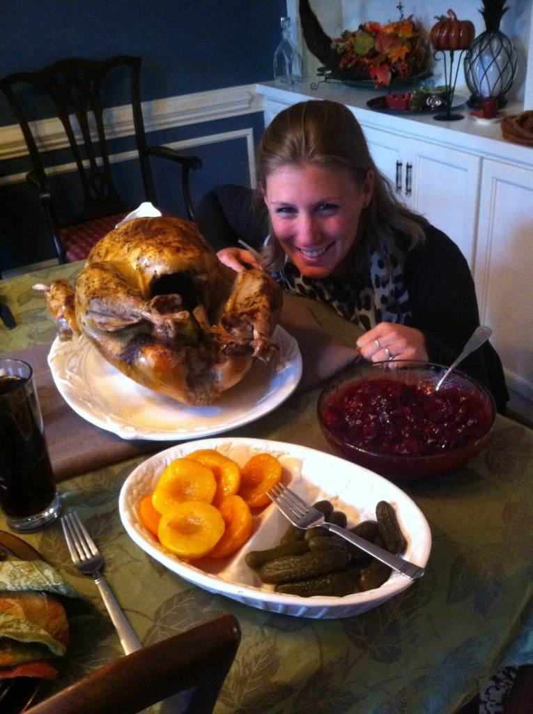Me and my first Thanksgiving turkey, weighing only 23-pounds...