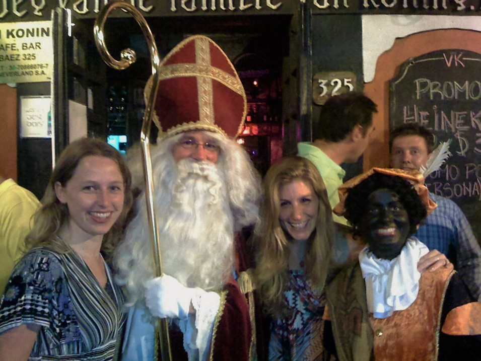 My friend and I taking a picture with Sinterklaas in Buenos Aires!