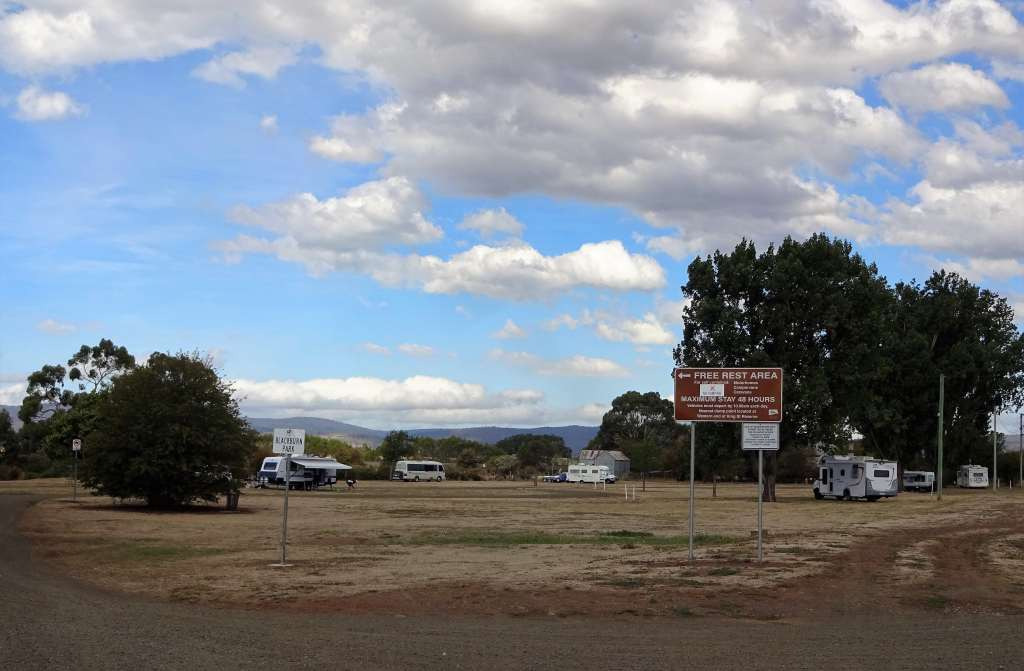 Free camping in Campbell town, Tasmania