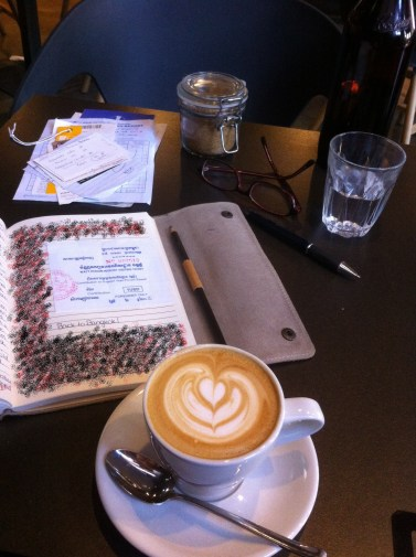 Working on Travel Journal at Code Black Coffee, Brunswick, Melboourne
