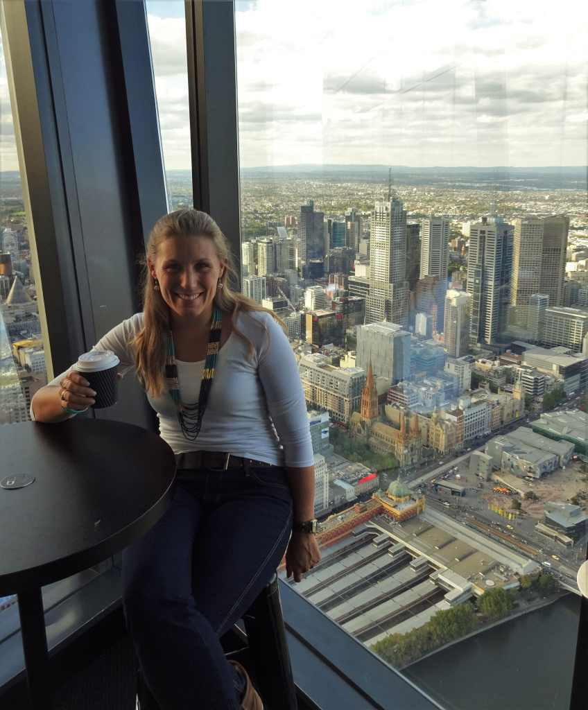 Happy Coffee Moment at the Eureka Skydeck, Melbourne
