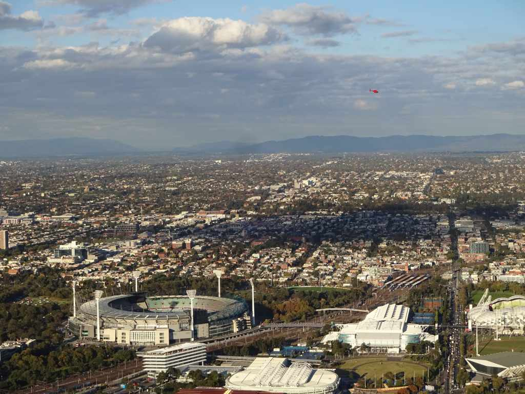 Melbourne's Sports Precinct, the MCG, and the suburb of Fitzroy, seen from the Eureka Tower, Melbourne