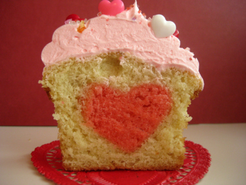 Heart Filled Cupcakes