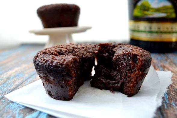 Dark Chocolate Molten Cupcakes with Baileys