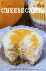 Pumpkin Swirled Cheesecake Cupcakes