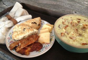 Cullen Skink served with oatmeal-currant scones, cheese and more smoked fish