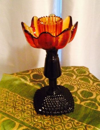 one of our glass art candle holders