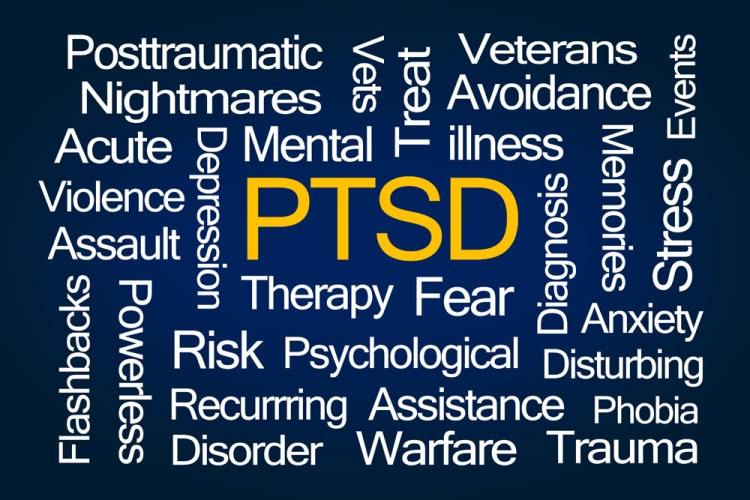 PTSD Word Cloud on Blue Background