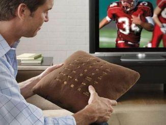 cojin y mando de televisión