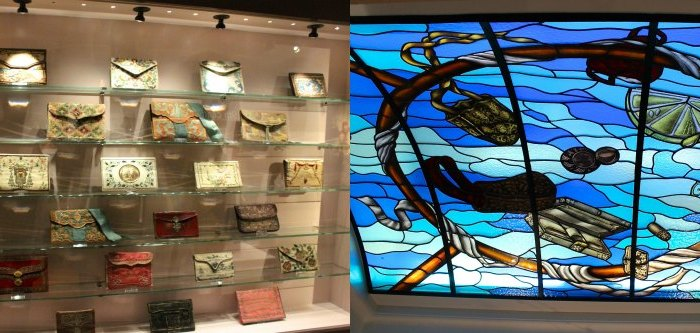 Historic bags on display and stained glass skylight|curlytraveller.com
