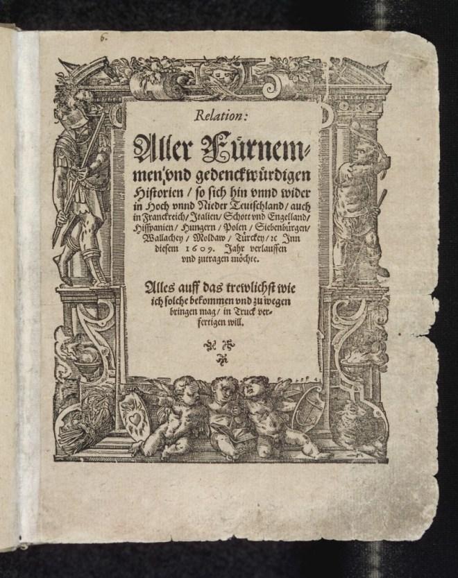 """O ediție din 1609 a ziarului german """"Relation"""""""