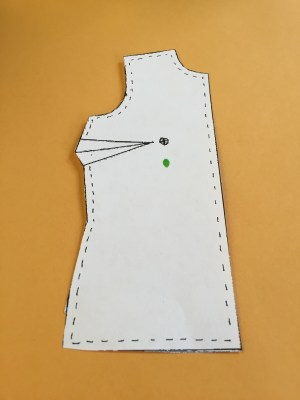 Mark your bust point on the pattern piece.