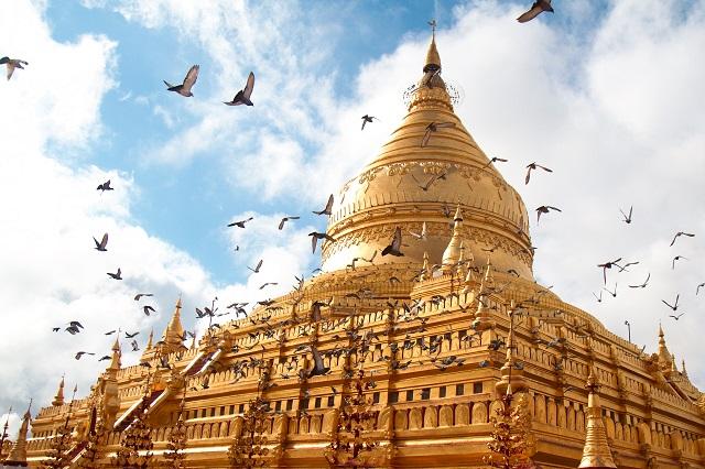 shwezigon pagoda, myanmar,