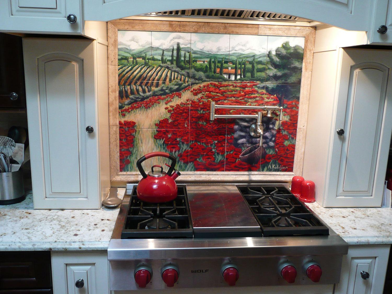 kitchen backsplash tile mural backsplash kitchen Kitchen Backsplash Tile Mural from Painting