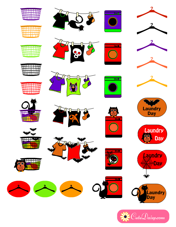 Free Printable Halloween themed Planner Stickers