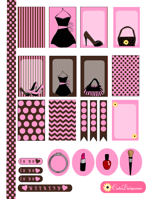 Fashion themed stickers for Erin Condren and Happy Planner in Pink ...