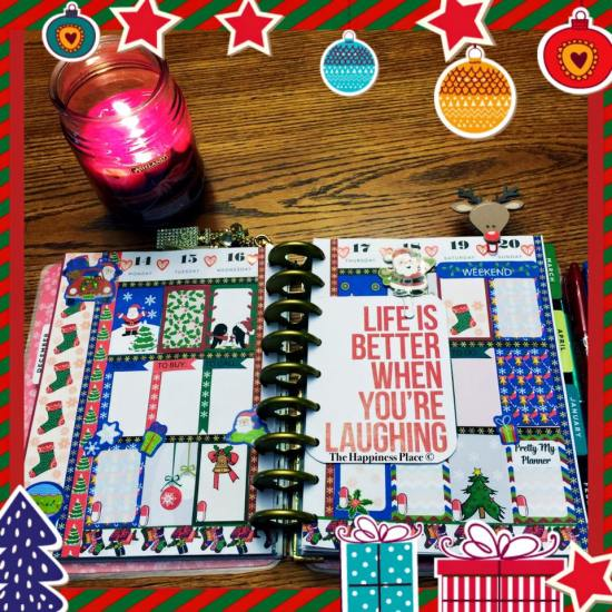 Christmas stickers used in planner layout