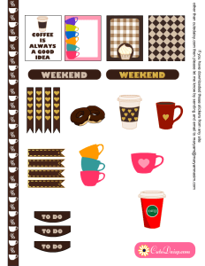 Coffee Cups Mugs Planner Stickers for Erin Condren Life Planner