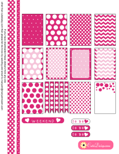 Free Printable Planner box stickers in Hot Pink Color