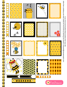 Free Printable Honey Bee themed Stickers for ECLP
