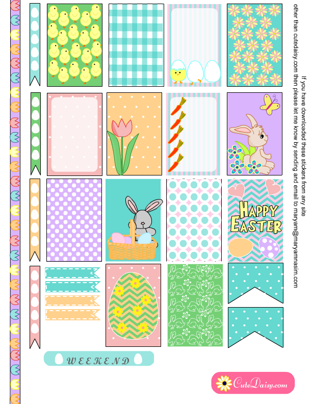 Free Printable Easter Stickers for Happy Planner and ECLP