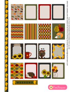 Free Printable Fall Stickers for Erin Condren Life Planner Set 1