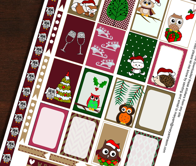 Owl themed Christmas Stickers for Happy Planner