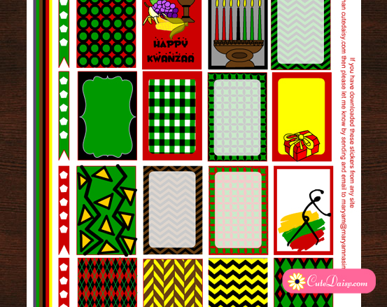 Free Printable Kwanzaa Stickers for Classic Happy Planner