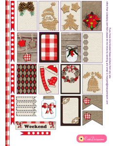 Free Printable Rustic Christmas Stickers for Happy Planner