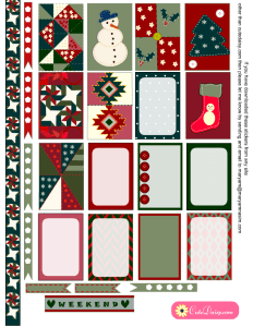 Christmas Quilt Inspired Planner Stickers Page 1