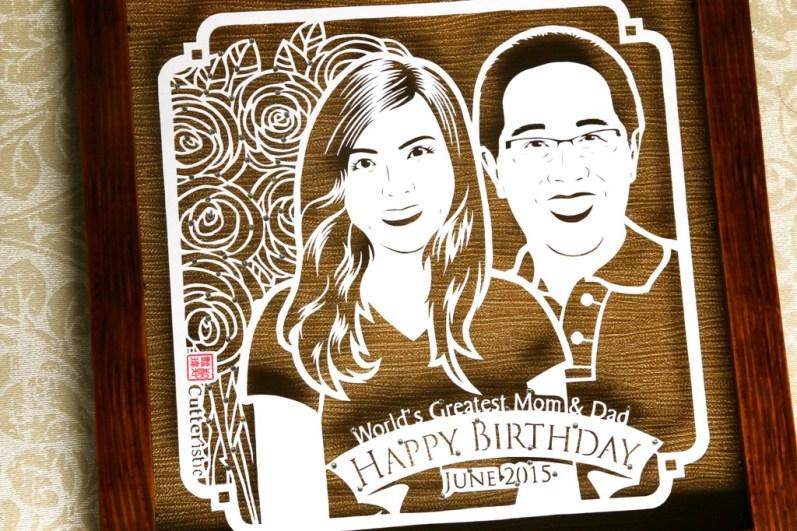 Sketsa wajah paper cutting untuk kado ulang tahun yang unik & eksklusif kepada orang tua, bapak dan ibu