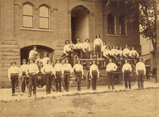Cuyahoga Falls Hook & Ladder Company, Standing in front of the City Hall bef. 1900