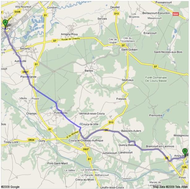 Carte de Chauny à Anizy-Le-Château (Google Mpas)