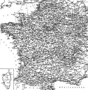 """Carte du réseau ferroviaire """"coordination voyageur"""" du grand Chaix en 1921"""