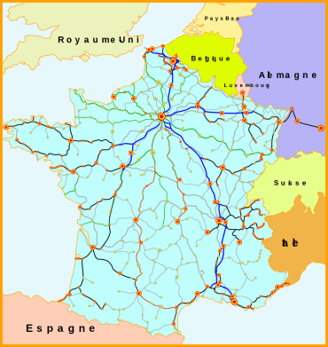 De wikipedia : Par Madcap, Benjism89 — Travail personnel ; créé à partir de Image:Carte_TGV.svg, placé sous licence GFDL par son auteur Madcap., CC BY-SA 3.0, https://commons.wikimedia.org/w/index.php?curid=3701729