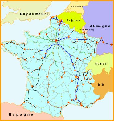 De wikipedia : Par Madcap, Benjism89 — Travail personnel; créé à partir de Image:Carte_TGV.svg, placé sous licence GFDL par son auteur Madcap., CC BY-SA 3.0, https://commons.wikimedia.org/w/index.php?curid=3701729