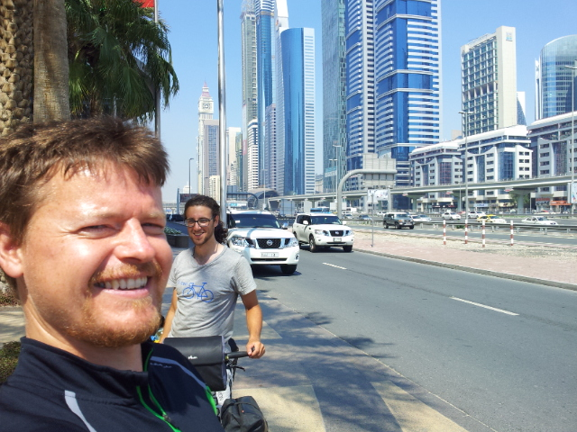 Alberto and I relieved and happy to finally make it to Dubai.