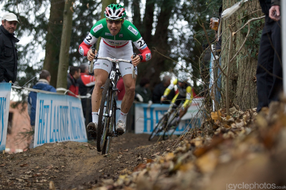 U23 rider Elia Silvestri is clearly having some fun during the first lap, while leading the race.