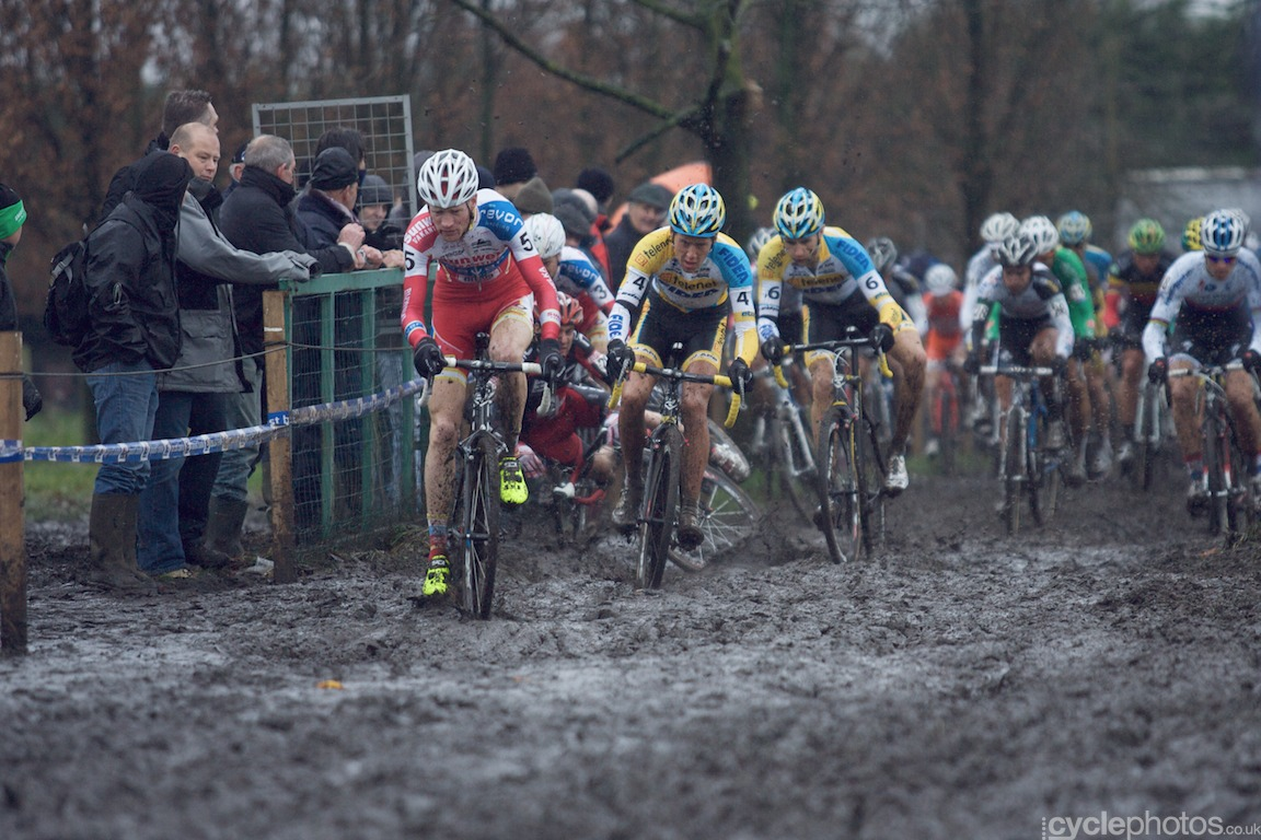 Julien Taramarcaz crashes in the first lap of the fifth round of the Bpost Bank Trofee Azencross in Loenhout.
