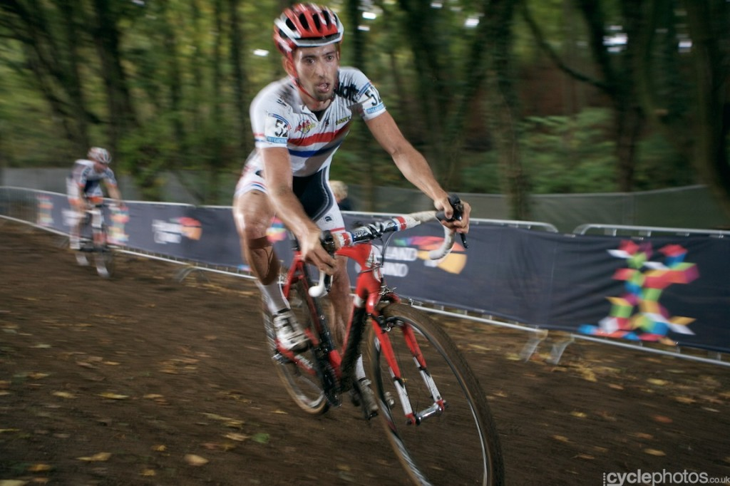 Ian Field brakes hard before a switchback in the fifth lap of the elite men's cyclocross World Cup race in Valkenburg.