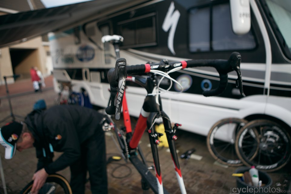 Zdenek Stybar's bike is being being prepared by his trusted mechanic. He has finally made the decision to race at the Worlds and that means  good racing on Sunday.