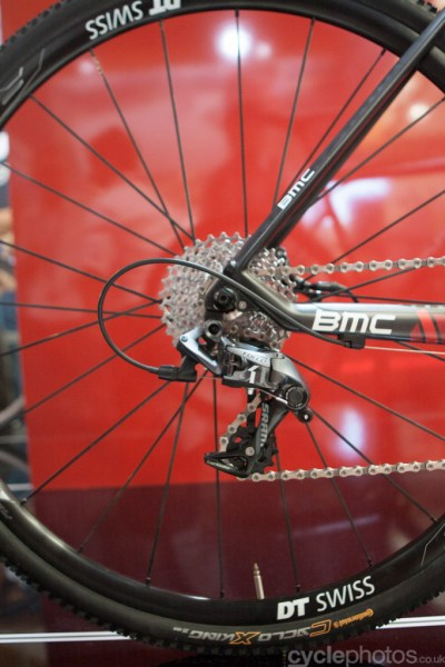 The rear mech of the 2015 BMC CrossMachine CX01 at the 2014 Eurobike Bike show in Friedrichshafen, Germany.